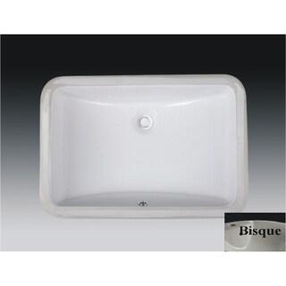 Wells Rectangular Vitreous Ceramic Lavatory Single Bowl Undermount Bisque 21 x 15 x 7