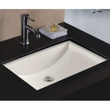 Wells Rectangular Vitreous Ceramic Lavatory Single Bowl Undermount Bisque 22 x 16 x 6