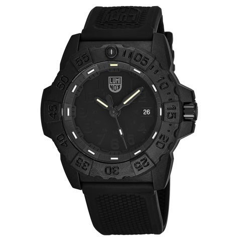 Luminox Men's 'Navy Seal' Black Dial Black Rubber Strap TimeDate Swiss Quartz Watch