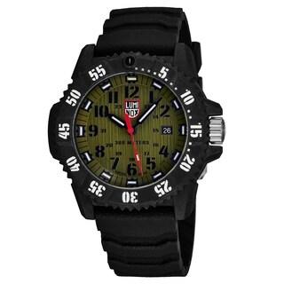 Luminox Men's XS.3813 'Master Carbon Seal' Khaki Green Dial Black Rubber Strap TimeDate Siwss Quartz Watch