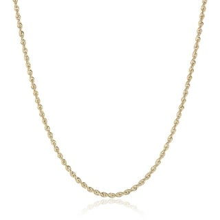 2MM Diamond-cut Rope Chain Necklace in 14K Solid Gold Boxed