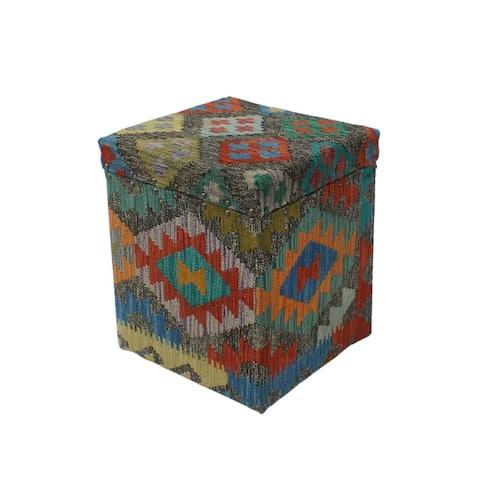 "Noori Rug Sangat Storage Ottoman Farshad, Brown (16""x16""x19"")"