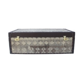Noori Rug Brown Wood and Wool Sangat Behrad Storage Chest