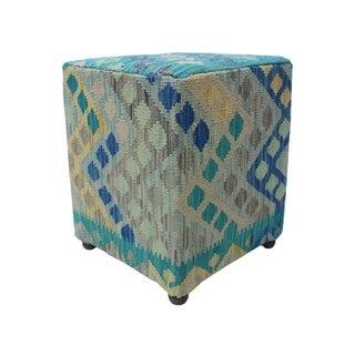 """Noori Rug Sangat Ottoman Ava, Blue (16""""x16""""x20"""")"""