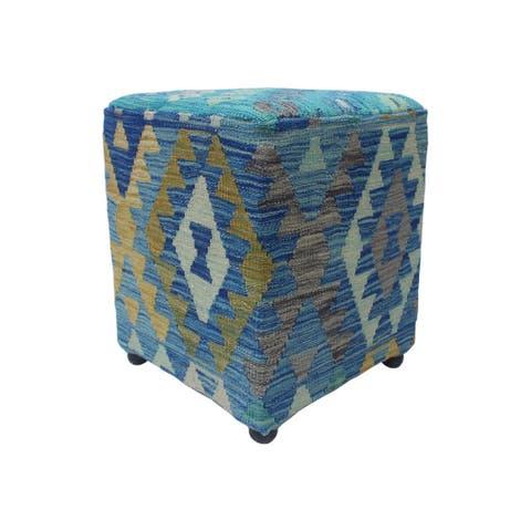 """Noori Rug Sangat Ottoman Morvareed, Blue (16""""x16""""x20"""")"""