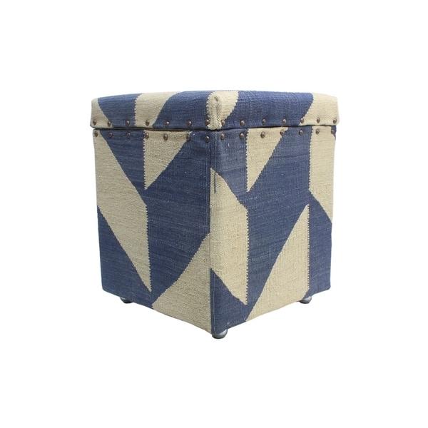 Shop Noori Rug Winchester Storage Ottoman Roshanak Blue