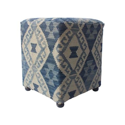 """Noori Rug Sangat Ottoman Asa, Blue (16""""x16""""x20"""")"""