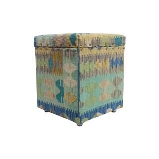 """Noori Rug Sangat Storage Ottoman Raha, Blue (16""""x16""""x20"""")"""