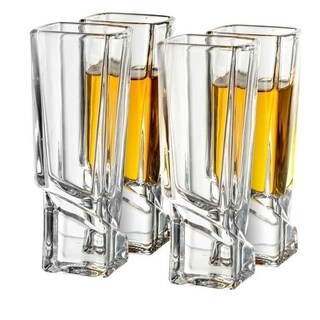 JoyJolt Carre Shot Glasses, Square Heavy Base Shot Glass, 4 Piece 1.8 oz