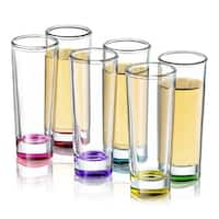 JoyJolt Hue Colored Shot Glasses, 6 Piece 2 oz Shot Glass