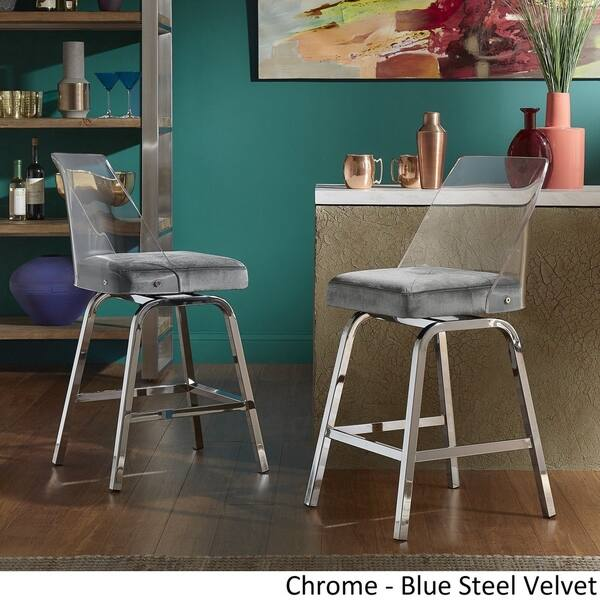 Strange Shop Lennox Velvet Counter Height Swivel Stools Set Of 2 Gmtry Best Dining Table And Chair Ideas Images Gmtryco