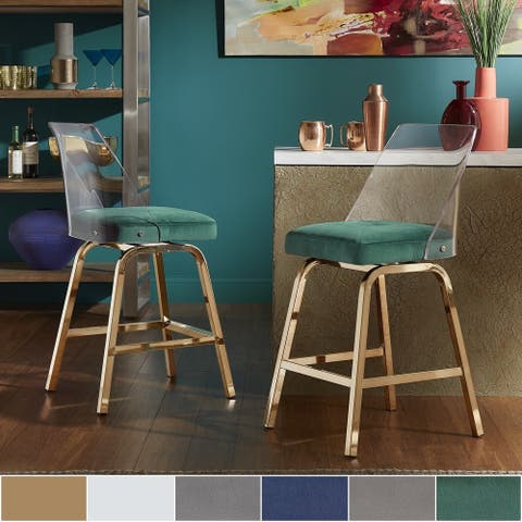 Lennox Velvet Counter Height Stools (Set of 2) by iNSPIRE Q Bold