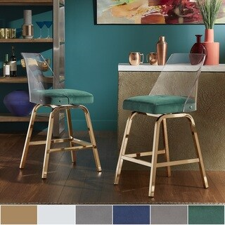 Lennox Velvet Counter Height Swivel Stools by iNSPIRE Q Bold (Set of 2)