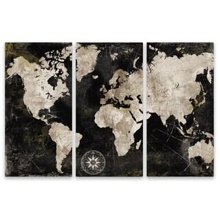 """""""Wordless World Map"""" Aluminum Wall Art - Set of 3, 15W x 30H x .75D each"""