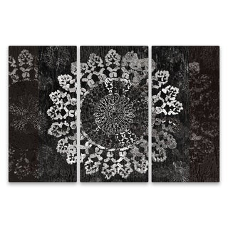 """Mandala on Black"" Aluminum Wall Art - Set of 3, 15W x 30H x .75D each"