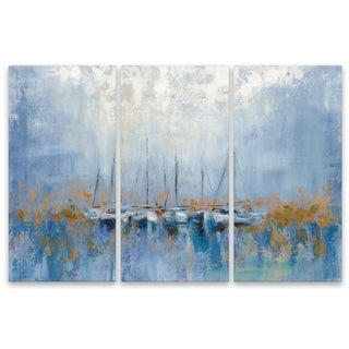 """""""Boats in the Harbor I Triptych"""" Aluminum Wall Art - Set of 3, 15W x 30H x .75D each"""