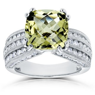 Annello by Kobelli 14k White Gold 6 1/2ct TGW Cushion Lemon Quartz and Multi Row Diamond Wide Gemstone Ring