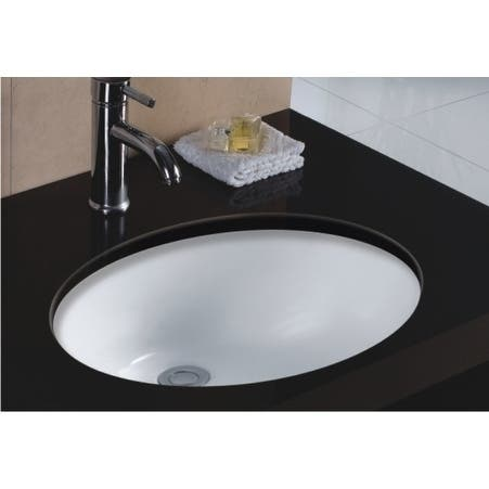 Wells Oval Vitreous Ceramic Lavatory Single Bowl Undermount White 20 x 16 x 8
