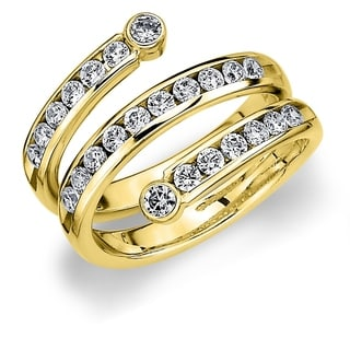 10K Yellow Gold 1 0 CTTW Three Row Curved Diamond Ring By Amore