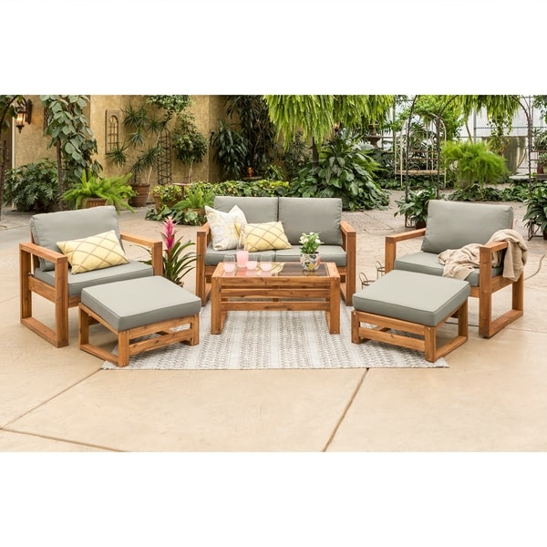 Hudson Open Side 6 Piece Outdoor Patio Chat Set