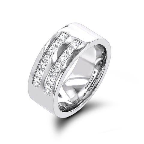 Men's 14K Gold Wide Princess Cut G-H Diamond Wedding Band 1.5ctw by Luxurman