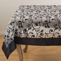 Flocked Design Satin Border Sheer Tablecloth