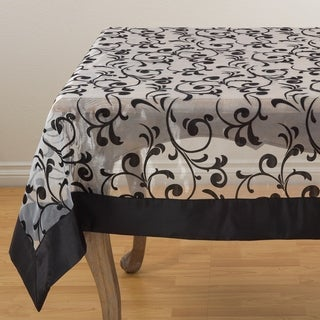 Flocked Design Satin Border Sheer Tablecloth