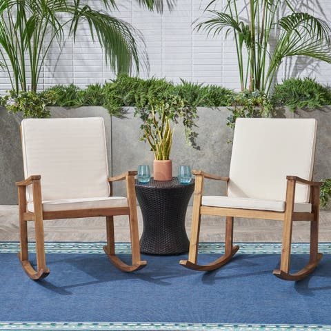 Candel Outdoor Acacia Wood Rocking Chair (Set of 2) by Christopher Knight Home