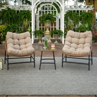 Outdoor Rounded Scoop Chair Set with Side Table