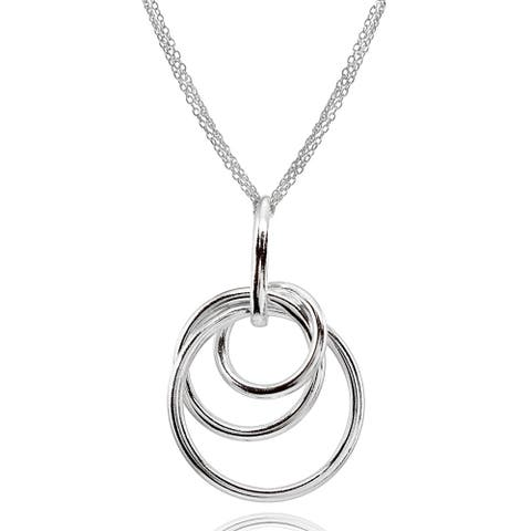 Mondevio Polished Intertwined Triple Hoop Pendant Necklace in Sterling Silver
