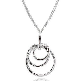 Mondevio Polished Intertwined Triple Hoop Pendant Necklace in Sterling Silver (5 options available)