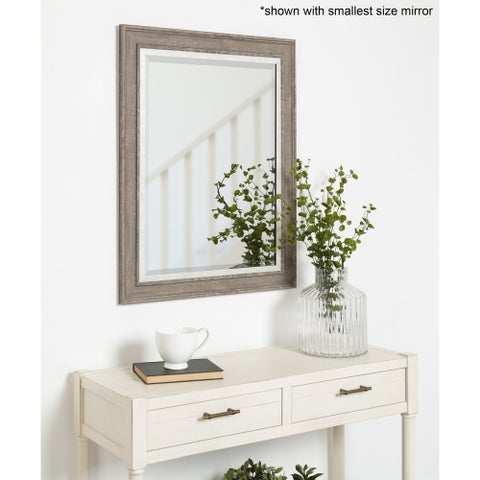 Kate and Laurel - Woodway Large Framed Wall Mirror - rustic gray
