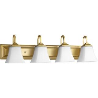 Aged Brass and Satin Opal 4-light Vanity Lighting