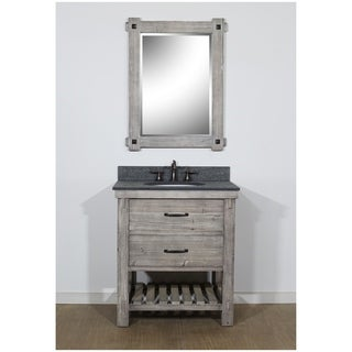 """30""""Rustic Solid Fir Single Sink Vanity in Grey-Driftwood Finish with Polished Textured Surface Granite Top-No Faucet"""