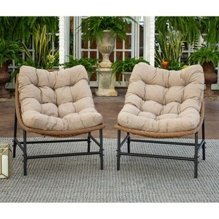 Outdoor Rattan Scoop Chairs, Set of 2 - Natural