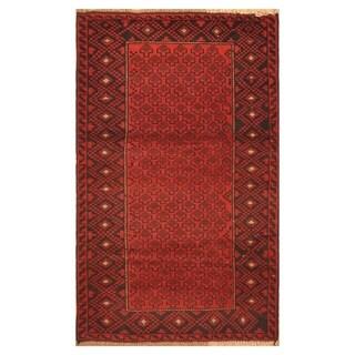 Handmade Herat Oriental Afghan Hand-knotted Tribal Balouchi Wool Rug - 2'10 x 4'9 (Afghanistan)
