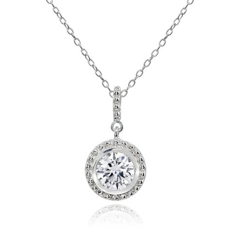 ICZ Stonez Round Halo Cubic Zirconina Dangling Sterling Silver Pendant Necklace
