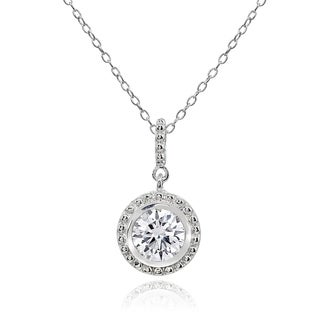 ICZ Stonez Round Halo Cubic Zirconina Dangling Sterling Silver Pendant Necklace (3 options available)