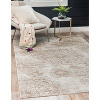 Shop Vintage Brown Ivory Abstract Distressed Transitional