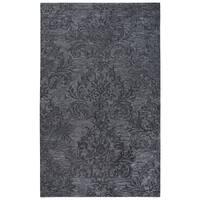 Rizzy Home Fifth Avenue Dark Grey Wool Handmade Damask Rectangular Area Rug - 8' x 10'