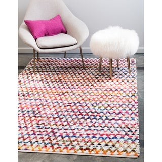Unique Loom Trellis Braided Chindi Area Rug