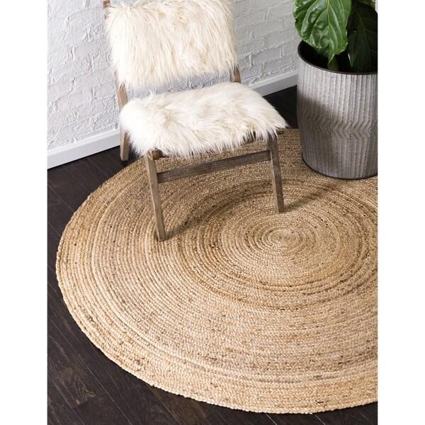 Unique Loom Dhaka Braided Jute Rug - 6' Round