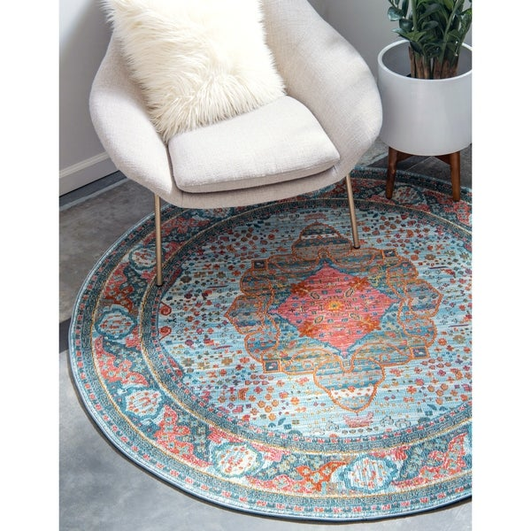 Unique Loom Malecon Havana Round Rug - 5' 5 x 5' 5