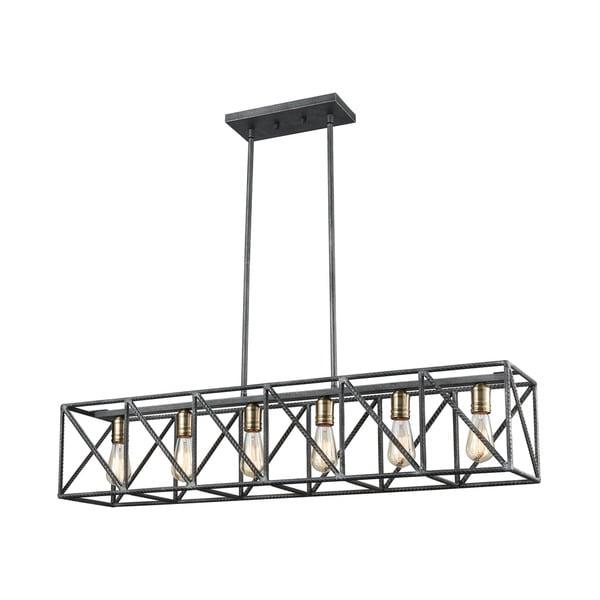 Crossbar Island Light, Silverdust Iron/Satin Brass