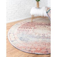 Unique Loom Rockwell Asheville Round Rug - Multi - 8' x 8'