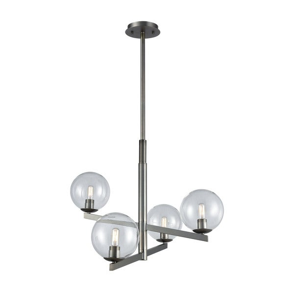 Globes Of Light 4-Light Chandelier, Brushed Black Nickel