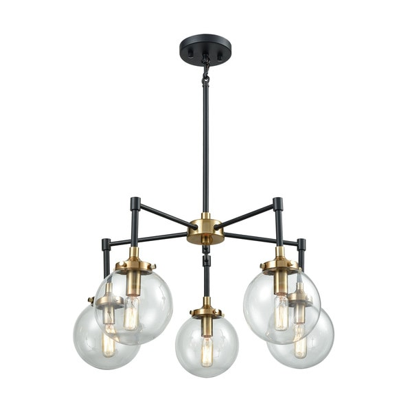 Boudreaux 5-Light Chandelier, Matte Black/Antique Gold