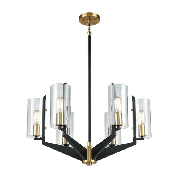 Blakeslee 6-Light Chandelier, Matte Black/Satin Brass