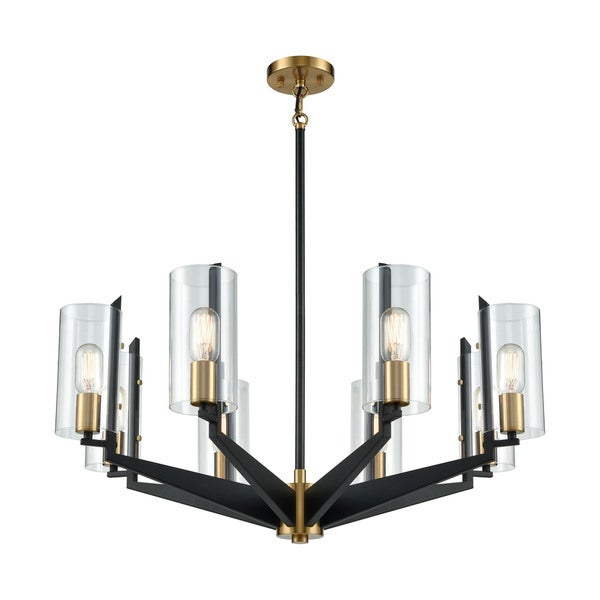 Blakeslee 8-Light Chandelier, Matte Black/Satin Brass