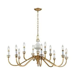 Buy ceramic chandeliers online at overstock our best lighting ceramique 12 light chandelier antique gold leaf aloadofball Image collections